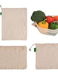 Недорогие -1 шт. Многоразовые хлопчатобумажные мешки с овощами домашняя кухня для хранения фруктов и овощей сетчатые мешки с кулиской стирать в стиральной машине