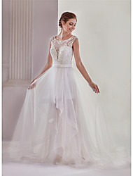 cheap -A-Line Bateau Neck Court Train Lace / Tulle Made-To-Measure Wedding Dresses with Beading / Appliques / Bow(s) by ANGELAG