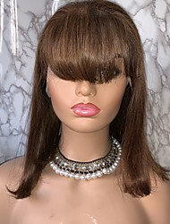cheap -Virgin Human Hair Remy Human Hair 4x13 Closure Lace Front Wig Bob Short Bob Free Part style Brazilian Hair Straight Natural Straight Auburn Brown Wig 130% Density with Baby Hair Normal 100% Virgin