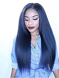billige -Menneskehår Helblonde Paryk Deep Parting stil Brasiliansk hår Kinky Glat Paryk 150% Hår Densitet Klassisk Nem dressing Bekvem Medium størrelse Naturlig Dame Blondeparykker af menneskehår yingcai
