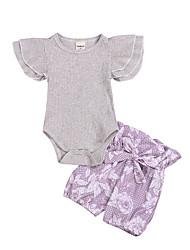 levne -Dítě Dívčí Aktivní Žakár Tisk Bez rukávů Standardní Standardní Bavlna Sady oblečení Šedá