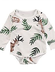 abordables -bébé Fille Actif / Basique Fleur Manches Longues Coton Une-Pièce Blanc / Bébé
