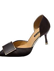 ราคาถูก -สำหรับผู้หญิง PU ฤดูร้อน ไม่เป็นทางการ รองเท้าส้นสูง ส้น Stiletto ปมผ้า สีดำ / ผ้าขนสัตว์สีธรรมชาติ / แดง