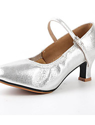billige -Dame Moderne dansesko Satin Hæle Cubanske hæle Dansesko Sort / Sølv / Rød