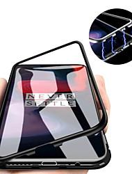 Недорогие -Кейс для Назначение OnePlus OnePlus 6 / One Plus 6T / Один плюс 7 Магнитный Кейс на заднюю панель Однотонный Твердый Закаленное стекло