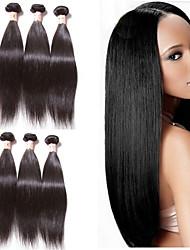 저렴한 -4 묶음 브라질리언 헤어 직진 100 % 레미 헤어 위브 번들 인간의 머리 직조 번들 헤어 한 팩 솔루션 8-28inch 자연 색상 인간의 머리 되죠 실키 패션 두꺼운 인간의 머리카락 확장 여성용