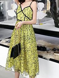 hesapli -Kadın midi gevşek kılıf elbise derin v kayış açık yeşil s m l xl