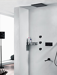billige -sort varmt og koldt vand brusekran - moderne vægmontering keramisk ventil bad bruser mixer kraner med tre stk kropsstråle
