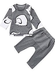 levne -Dítě Chlapecké Základní Jednobarevné / Tisk Tisk Dlouhý rukáv Standardní Standardní Bavlna Sady oblečení Tmavě šedá