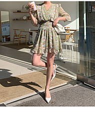 halpa -naisten edellä polven sifonki mekko v kaulan sifonki punastava vaaleanvihreä yksi koko