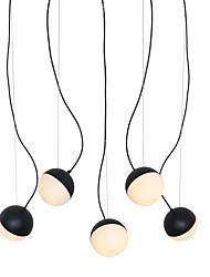Недорогие -Подвесной светильник на 5 ламп / стеклянный светильник для гостиной, столовой, кафе, кафе, окрашенный в черный цвет / 110-120 В / 220-240 В / e12 / e14 без лампы / доступна модель a / b