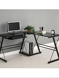 Недорогие -черный металлический L-образный угловой компьютерный стол со стеклянной столешницей