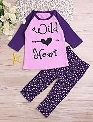 levne -Dítě Dívčí Aktivní / Základní Geometrický / Tisk / Leopard Tisk Dlouhý rukáv Standardní Standardní Bavlna / Polyester Sady oblečení Fialová