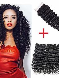 저렴한 -3 개 묶음 브라질리언 헤어 딥 웨이브 버진 헤어 인간의 머리 직조 번들 헤어 한 팩 솔루션 8-28 inch 자연 색상 인간의 머리 되죠 신생아 섹시 레이디 멋진 인간의 머리카락 확장 여성용