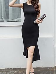 abordables -Femme Midi Moulante Robe Noir M L XL Sans Manches
