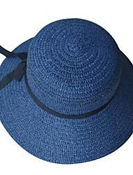 Недорогие -Жен. Классический Соломенная шляпа Шляпа от солнца Солома,Однотонный Лето Осень Синий Бежевый Хаки
