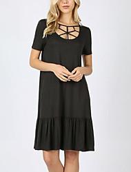 preiswerte -Damen Grundlegend Street Schick A-Linie Hülle Kleid - Rüsche, Solide Übers Knie