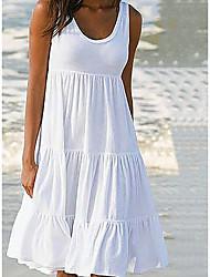Недорогие -Жен. Классический А-силуэт Платье - Однотонный, Пэчворк До колена