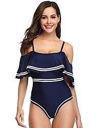 voordelige -Dames Standaard Wit Zwart Rood Driehoek String Hoge taille Bedekken Zwemkleding - Effen Blote rug M L XL Wit