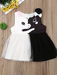 abordables -bébé Fille Actif / Basique Bloc de Couleur Maille / Mosaïque Sans Manches Coton Robe Noir / Bébé