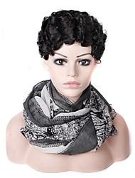 저렴한 -인모 전면 레이스 가발 중간 부분 스타일 말레시아인 헤어 곱슬한 블랙 가발 130 % Haardichte 여성 블랙 여성용 짧음 기타 Clytie