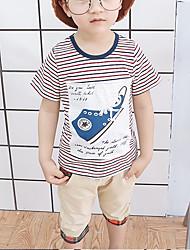 abordables -Bebé Chico Básico / Chic de Calle Estampado / Retazos Estampado Manga Corta Regular Regular Algodón Conjunto de Ropa Negro