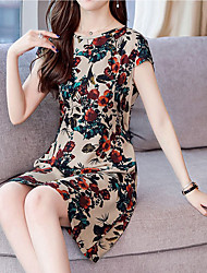 billige -Dame Kineseri Elegant Skede Kjole - Farveblok, Trykt mønster Over knæet