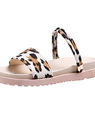 ราคาถูก -สำหรับผู้หญิง PU ฤดูร้อน ไม่เป็นทางการ รองเท้าแตะ ส้นแบน ผ้าขนสัตว์สีธรรมชาติ / สีเหลือง / ลายเสือ