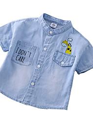 abordables -Enfants Garçon Actif / Basique Imprimé Imprimé Manches Courtes Coton Chemise Bleu clair