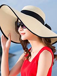 Недорогие -Жен. Активный Классический Симпатичные Стиль Соломенная шляпа Шляпа от солнца Солома,Контрастных цветов Лето Осень Розовый Бежевый Лиловый