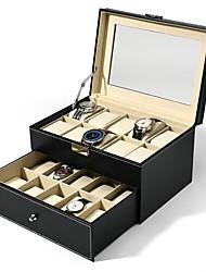 levne -20 mřížky sloty hodinky box šperky organizátor vysoce kvalitní dvojité vrstvy kůže pu displej box