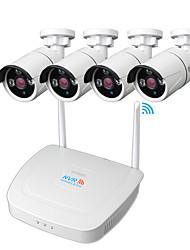 Недорогие -Didseth Wireless NVR Комплекты 4-канальный 1080p Wi-Fi NVR с 4шт IP-камеры наружного ночного видения беспроводной (на открытом воздухе 600 м)