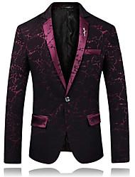 preiswerte -Burgunderrot / Schwarz / Königsblau Mit Mustern Schlanke Passform Baumwolle Anzug - Fallendes Revers Einreiher - 1 Knopf