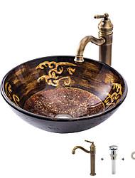 halpa -Kylpyhuoneen allas / Kylpyhuoneen hana / kylpyhuoneen asennusrengas Antiikki - Karkaistu lasi Pyöreä