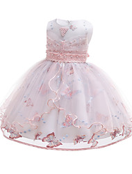 cheap -Kids / Toddler Girls' Active / Cute Solid Colored Lace / Beaded / Embroidered Sleeveless Knee-length Cotton / Polyester Dress Blushing Pink