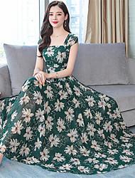 abordables -Mujer Boho Elegante Corte Swing Vestido - Estampado Midi