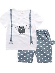 abordables -bébé Garçon Actif / Basique Imprimé Imprimé Manches Courtes Normal Normal Coton Ensemble de Vêtements Bleu