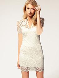 Χαμηλού Κόστους -Γυναικεία Κομψό Εφαρμοστό Φόρεμα - Μονόχρωμο, Δαντέλα Πάνω από το Γόνατο