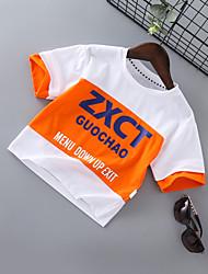 abordables -Enfants Garçon Basique / Chic de Rue Imprimé / Bloc de Couleur Mosaïque / Imprimé Manches Courtes Coton Tee-shirts Noir