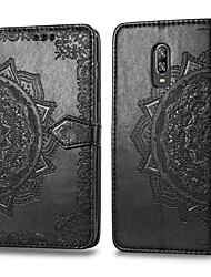 tanie -Kılıf Na OnePlus One Plus 6T Etui na karty / Flip Pełne etui Solidne kolory Twardość Skóra PU na One Plus 6T