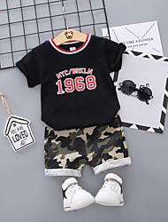abordables -bébé Garçon Basique / Chic de Rue Imprimé / Mosaïque Mosaïque / Imprimé Manches Courtes Normal Normal Coton Ensemble de Vêtements Blanc