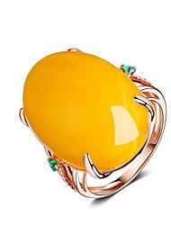 Недорогие -Жен. Кольцо Смола 1шт Желтый Позолота 18К Геометрической формы Стиль Для вечеринок Повседневные Бижутерия Классический Радость Cool