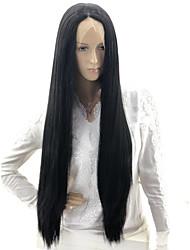 Недорогие -Wig Accessories Прямой / Вытянутые Kardashian Стиль Стрижка каскад Машинное плетение / Лента спереди Парик Черный Черный Искусственные волосы 24 дюймовый Жен. Для вечеринок / Sexy Lady / Градиент