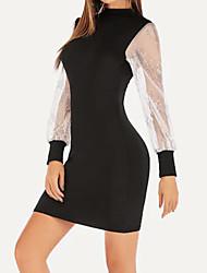 cheap -Women's Sophisticated Elegant Sheath Dress - Color Block Black M L XL