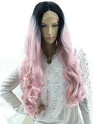 Недорогие -Wig Accessories Матовое стекло Волнистые Стиль Средняя часть Машинное плетение Лента спереди Парик Розовый Черный / розовый Искусственные волосы 24 дюймовый Жен.