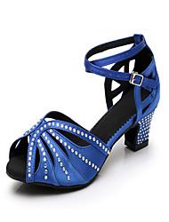 440808c792f Γυναικεία Παπούτσια χορού λάτιν Σατέν Τακούνια Τεχνητό διαμάντι Πυκνό  τακούνι Εξατομικευμένο Παπούτσια Χορού Μπλε