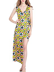 halpa -naisten epäsymmetrinen vaippa mekko syvä v keltainen m xl xxl xxxl