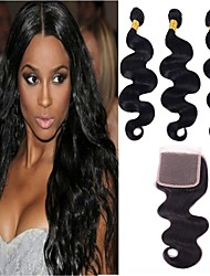 저렴한 -3 개 묶음 브라질리언 헤어 바디 웨이브 레미 헤어 인간의 머리 직조 번들 헤어 한 팩 솔루션 8-28 inch 자연 색상 인간의 머리 되죠 오더 프리 라이프 클래식 인간의 머리카락 확장 여성용