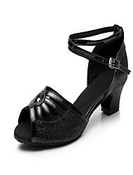 5bb4d1469a3 Γυναικεία Παπούτσια χορού λάτιν Συνθετικά Τακούνια Κόψιμο Πυκνό τακούνι  Εξατομικευμένο Παπούτσια Χορού Μαύρο