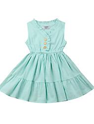 abordables -bébé Fille Actif / Basique Couleur Pleine A Volants Sans Manches Coton Robe Vert
